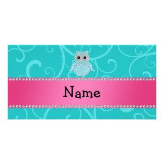 Name bling owl diamonds turquoise swirls customized photo card