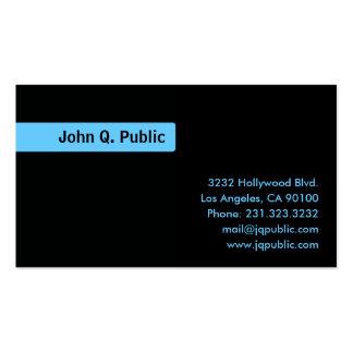 Name Blue Background - Plain Black Business Card