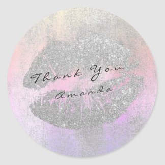Name Branding Thank Kiss Ombre Gray Glitter Makeup Round Sticker