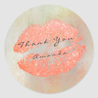 Name Branding Thank Kiss Peach Glitter Rose Makeup Round Sticker