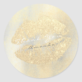 Name Branding Thank Lips Kiss Gold Glitter Makeup Classic Round Sticker