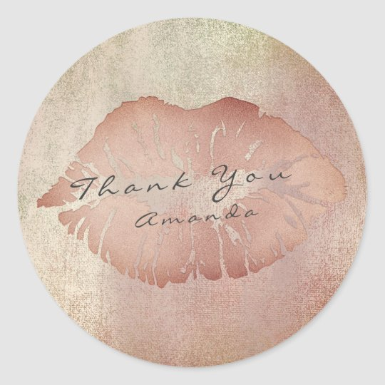 Name Branding Thank Lips Kiss Rose Copper Makeup Classic Round Sticker