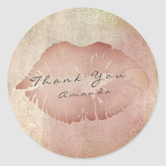 Name Branding Thank Lips Kiss Rose Copper Makeup Round Sticker
