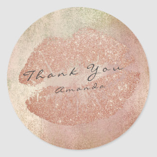 Name Branding Thank Lips Kiss Rose Gold Makeup Classic Round Sticker