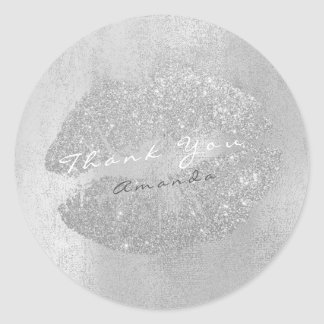Name Branding Thank Lips Kiss Silver Gray Makeup Round Sticker