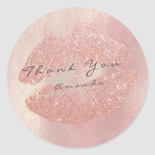 Name Branding Thank You Kiss Rose Gold Lips