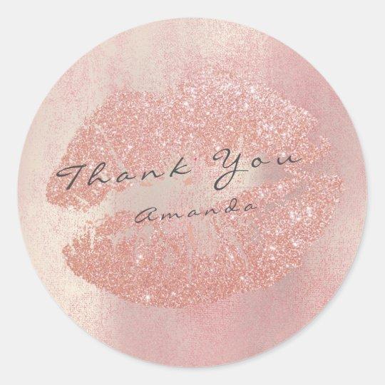 Name Branding Thank You Kiss Rose Gold Lips