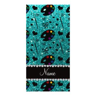 name bright aqua glitter painter palette brushes customised photo card