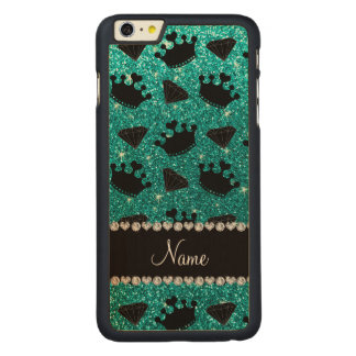 Name bright aqua glitter princess crowns diamonds iPhone 6 plus case