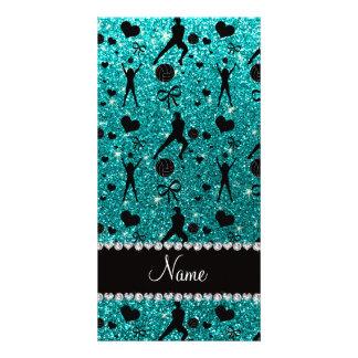 Name bright aqua glitter volleyballs hearts bows picture card