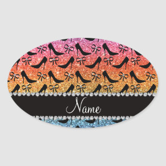 Name bright rainbow glitter black high heels bow oval sticker