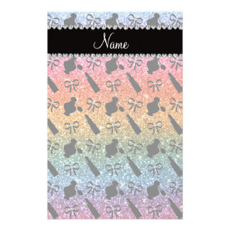 name bright rainbow glitter perfume lipstick bows custom stationery