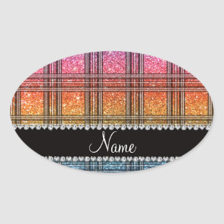 Name bright rainbow glitter plaid oval sticker