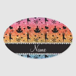 Name bright rainbow glitter yoga hearts bows oval sticker