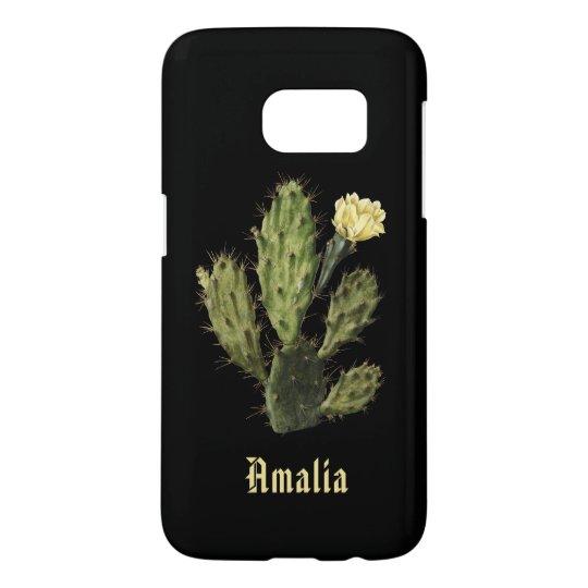 Name Cactus Flower Vintage Black Galaxy S7 Case
