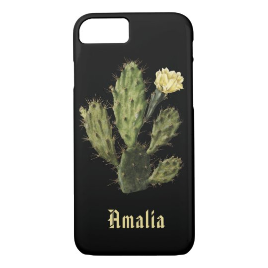 Name Cactus Flower Vintage Black iPhone 8/7 Case