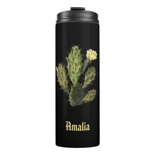 Name Cactus Flower Vintage Black Thermal Tumbler