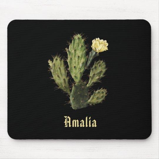 Name Cactus Flower Vintage Drawing Black Mousepad