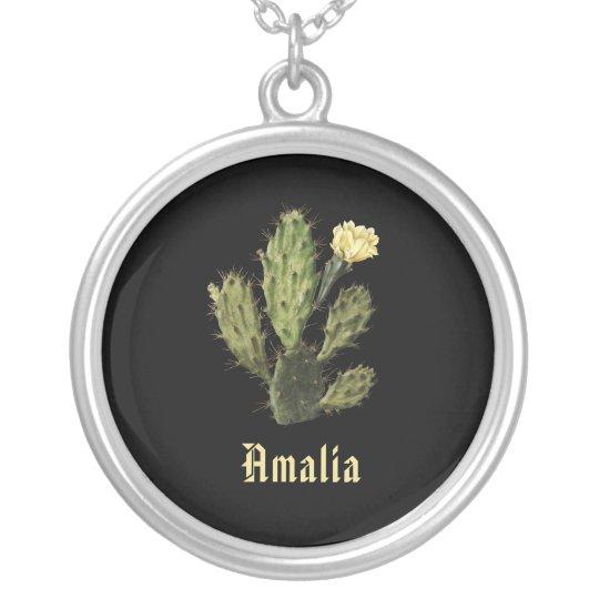 Name Cactus Flower Vintage Drawing Black Necklace