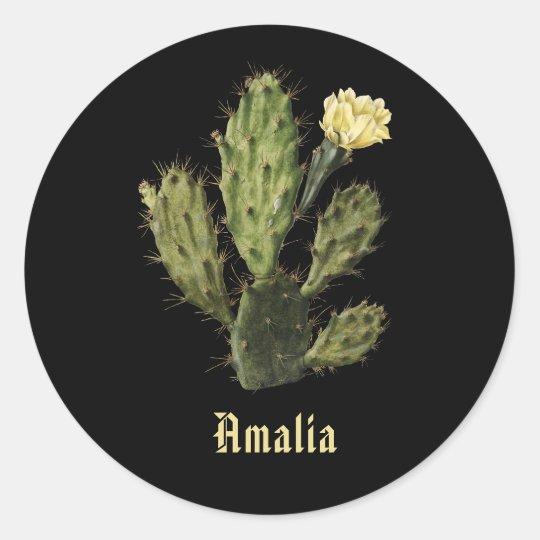 Name Cactus Flower Vintage Drawing Black Sticker