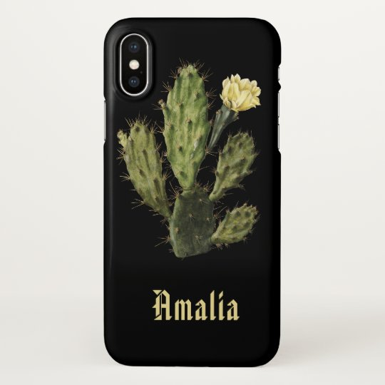 Name Cactus Flower Vintage Drawing Black X Case