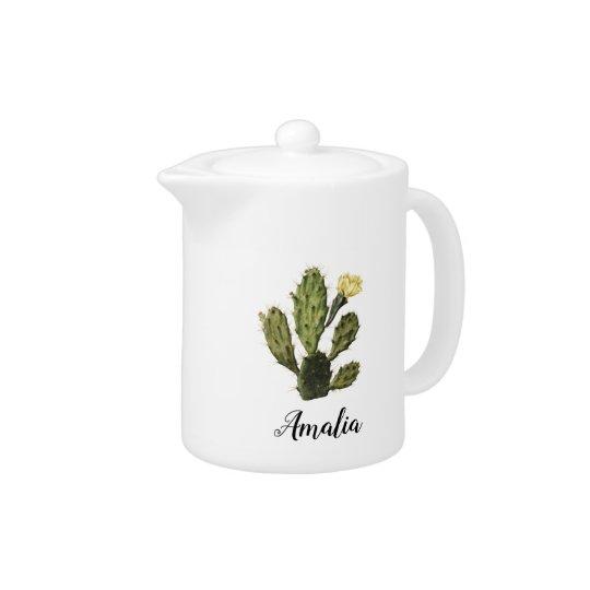 Name Cactus Flower Vintage Drawing Teapot