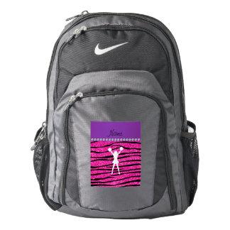 Name cheerleader neon not pink glitter zebra strip backpack