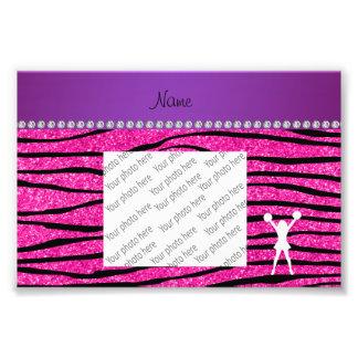 Name cheerleader neon not pink glitter zebra strip photo print
