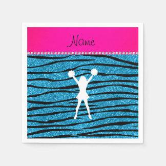 Name cheerleader sky blue glitter zebra stripes paper napkin