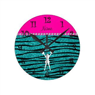 Name cheerleader turquoise glitter zebra stripes round clock