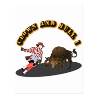NAME: Clown and Bull 1-With-Text Postcard