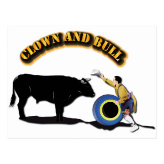 NAME: Clown and Bull-With-Text Postcard
