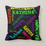 Name Collage Pillow in Bright Electric Colours Cushion