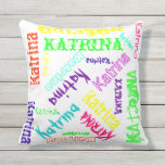 Name Collage Pillow in Bright Electric Colours Throw Cushions