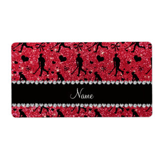 Name crimson red glitter field hockey hearts bow shipping label