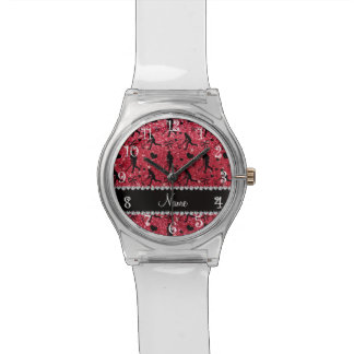 Name crimson red glitter field hockey hearts bow watch