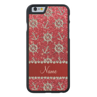 Name crimson red glitter silver anchor ships wheel carved maple iPhone 6 case