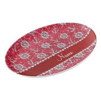 Name crimson red glitter silver anchor ships wheel porcelain serving platter