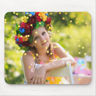 Name Custom Photo Golden Confetti Sweet Mouse Mat