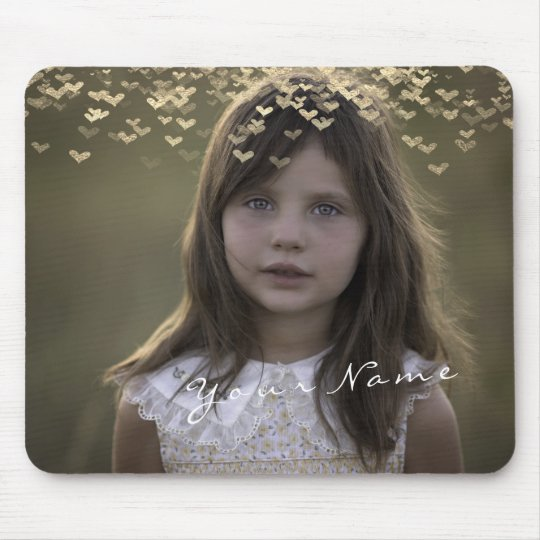 Name Custom Photo Golden Golden Hearts Mouse Pad