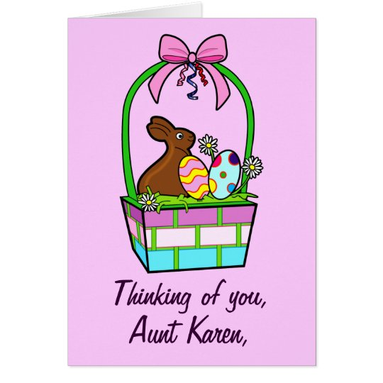 Name Customisable Happy Easter Eggs, Bunny and Bow Card