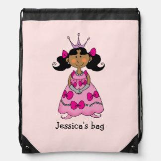Name customized little princess (black hair) drawstring bag