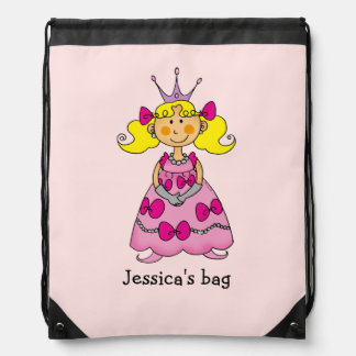 Name customized little princess (blonde hair) backpack