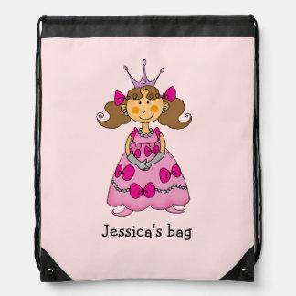 Name customized little princess (brown hair) drawstring bags