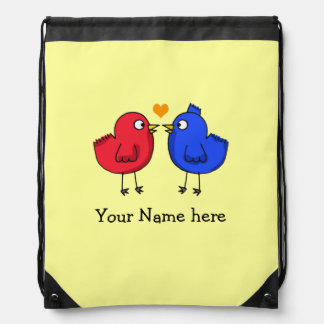 Name customized love red and blue birds drawstring backpacks