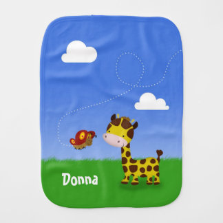 Name Cute Giraffe and Butterfly - Burp Cloth