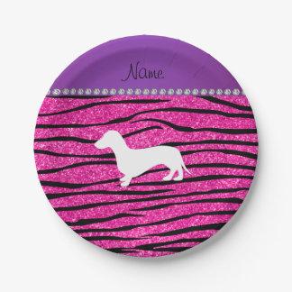 Name dachshund neon hot pink glitter zebra stripes paper plate
