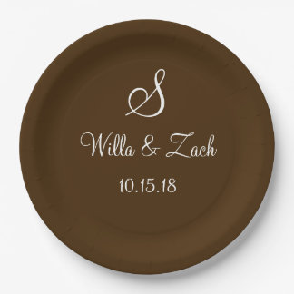 Name Date Monogram Autumn Fall Wedding Brown White 9 Inch Paper Plate