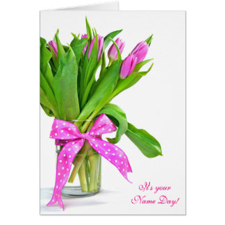 Name Day-pink tulip bouquet Greeting Card