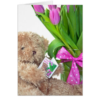 Name Day-teddy bear with tulips Card